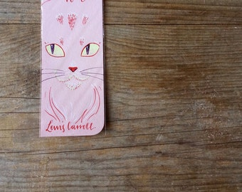 Alice in wonderland: cheshire cat, pink bookmark, with handwritten calligraphy
