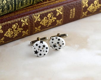 White with Black Stars - Modern Button Cufflinks - Upcycled - Repurposed - Unique Cuff Links - Men's Accessories - Father's Day Gift