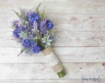 Wildflower Bouquet, Lavender Bouquet, Bridal Bouquet, Small Bouquet, Rustic Bouquet, Woodland Wedding Bouquet, Cornflower, Blue Bouquet