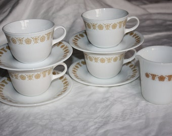 4 Sets Corelle Livingware Butterfly Gold Coffee Cups/ Saucers Plus Pyrex Creamer/Pitcher