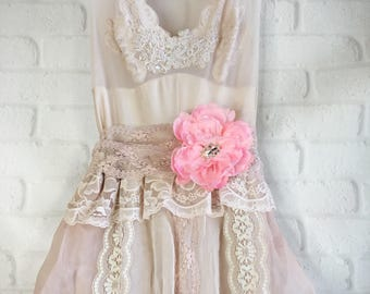 pale muted pink mauve organza & lace boho wedding dress by mermaid miss Kristin