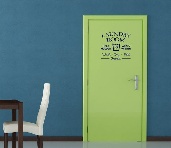 12 inch laundry room help needed removable vinyl wall art