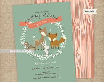 Woodland Invitation/ Woodland First Birthday Invitation Set | Printable or Printed
