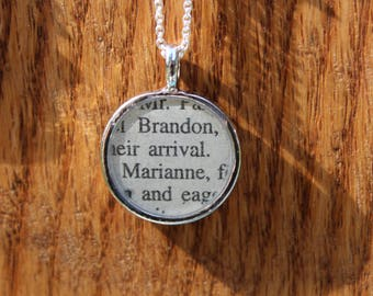 Colonel Brandon and Marianne - Sense and Sensibility - Jane Austen Book Page Necklace - Resin Protected Literary Necklace