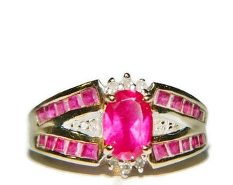 10K Gold Ruby Ring, Vintage Ruby Ring, Ruby And Diamond Ring, Estate Jewelry, July Birthstone Ring