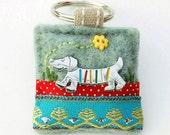 dachshund keyring - sausage dog keyring - dog gifts - keyring gift - gifts for dog lover - dachshund owner gift - dog keyring - hand sewn