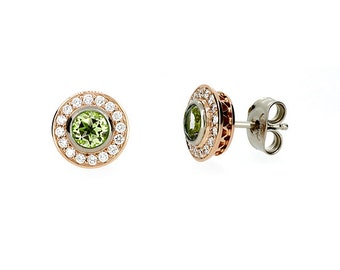 Peridot and diamond halo stud earrings made from rose and white gold, peridot studs, green earrings, unique, green jewelry, rose gold studs