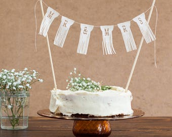 Mr and Mrs Wedding Cake Bunting fringed Topper, perfect cake finishing touch