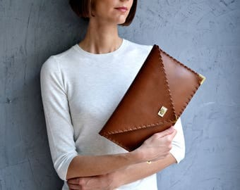 Brown Leather clutch / Brown leather bag / Brown leather purse / Leather evening bag / Envelope clutch