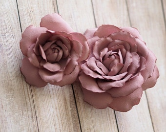 Pink Fabric Flower, Chiffon Hair Flower, Pink Sash Flower, Pink Hair Piece, Pink Fabric Flower Brooch,Dusty Pink Hair Rose,Silk Rose Corsage