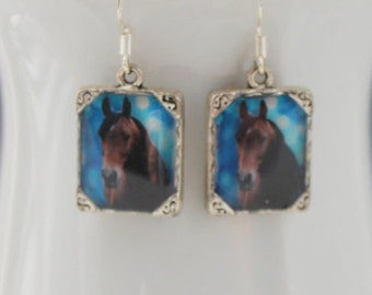 Horse Pony Earrings Jewelry Horses Picture 3D Dimensional Brown Blue Silver animal