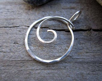 Minimalist Heavy Gauge Spiral Wrap Charm Holder / Ring Holder Pendant - Free Form Sterling Wire Work