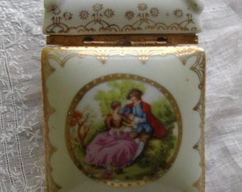 Porcelain trinket box from Japan, Vintage porcelain, Victorian scene, 1950s vintage collectible,  Arnart trinket box, hinged box