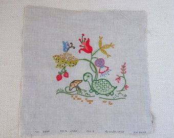 Vintage Turtle Mushroom Butterfly Flowers Hand Embroidery Piece . Wonder Art . Embroidered Linen