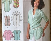 UNCUT Misses' Button Down Shirt Sewing Pattern Simplicity 2255 Size 6-8-10-12-14-16-18-20-22 Sleeveless, Tunic, Easy