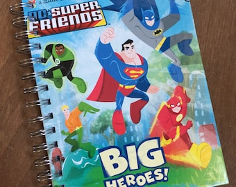 Just the Covers // 1DC Super Friends Big Heroes Little Golden Book Recycled Notebook