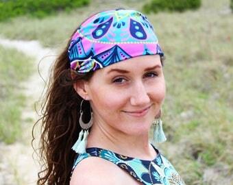 spring bliss headband - stretchy headband - boho headband - bohemian hair band - mandala - fabric headband - cute sweatband - head wrap