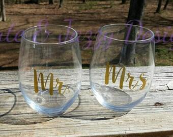 Personalized Wedding 21 oz Stemless Wine Set