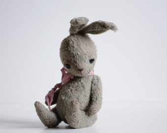 Sale 10% Off Made To Order Suffed Animal Plush Bunny Mohair Rabbit Soft Animal Sculpture Woodland Animal Toy 7 Inches For Her FREE Shipping
