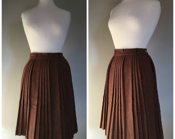 Vintage BROWN PLEATED WOOL Skirt/Midi Skirt/size Small