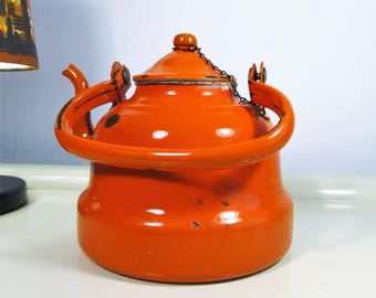 Vintage Enamel Teapot Orange color Enamelware Teapot Coffee Kettle Made in Holland