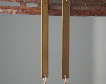 Alex Earrings: Pyrite nuggets on long brass bars