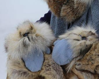 alpaca gloves with recycled fur