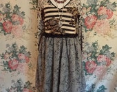 Altered Couture Dress, Mori Girl Dress, Lagenlook Dress, Striped Dress, Lace Dress, Tunic, Paisley Dress, Upcycled, Size M/L