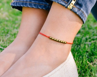 Anklet, red ankle bracelet with bronze round beads, beaded anklet, dainty anklet, minimalist jewelry, gift for her, summer beach anklets