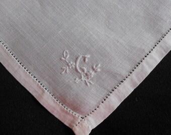 C Monogram Hanky Vintage White Linen Wedding Handkerchief, Something Old Hemstitched Hem Drawn Dainty Petite Monogram, Gift Letter C