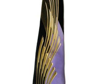 80s Vitaliano Pancaldi Silk Tie, Vintage Vitaliano Pancaldi Tie, Art Deco Necktie, Luxury Necktie, Gold Lavender Black Silk Tie