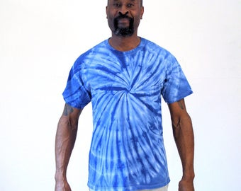 90s Blue Tie Dye T-shirt, Hippie T-shirt, Blue Psychedelic Tshirt, Vintage Mens Tie Dye Tee, M