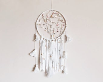 Boho dreamcatcher, nursery mobile, tree of life, wall hanging, dream catcher, handmade, white, large, tassel, boho bedroom, kidsroom decor
