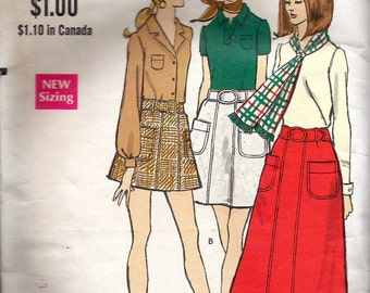 """Vintage 1970 Vogue 7769 A-Line Skirt in Three Lengths Sewing Pattern Size Waist 27"""""""
