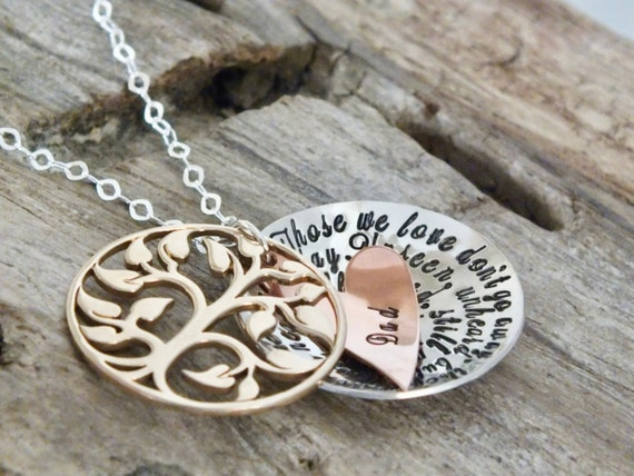 Mothers day gift/Personalized Memorial Jewelry / Sterling Silver Wing / Those We Love Don't Go Away /  Hand Stamped Sympathy Necklace