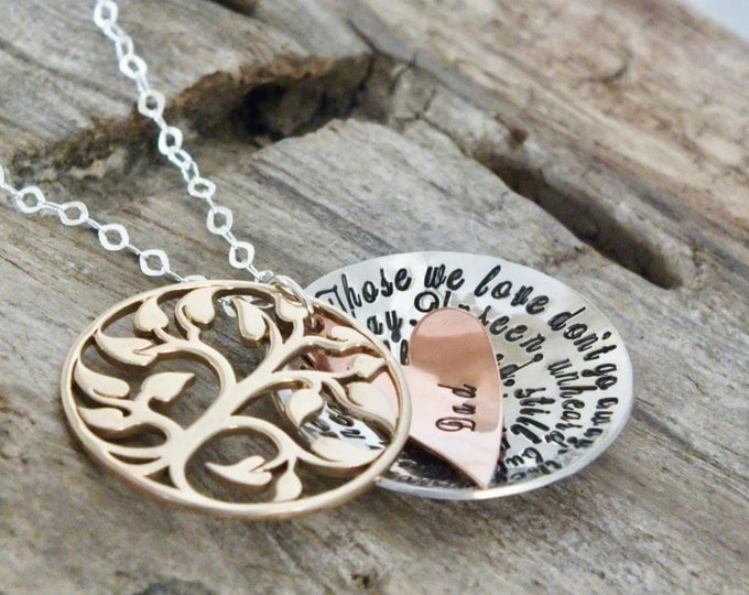 Personalized Memorial Jewelry | Sterling Silver Wing | Those We Love Don't Go Away | Hand Stamped Sympathy Necklace