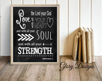 PRINTABLE, Bible Verse, Scripture Printable, Scripture Art, Chalkboard, Deuteronomy 6:5, Love the Lord with all your heart, Instant Download