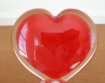 Red blown glass heart paperweight