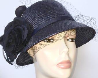 Navy Blue Womens Hat Vintage Inspired Summer Straw Cloche Hat