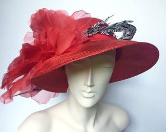 Kentucky Derby Hat Red Straw Feather Derby Women's Hat Church
