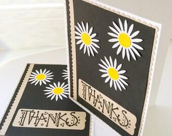 2 handmade Thank you cards - daisy cards - masculine thank you cards - charcoal cards - flower thank you cards