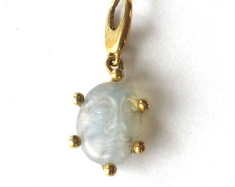 Carved Victorian Moonstone Man in the Moon 14k