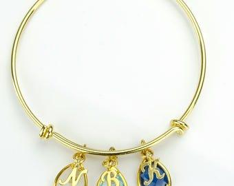Mothers day jewelry, Personalized Birthstone bangle bracelet family bracelet stacking bangle initial bangle mothers bangle adjustable bangle
