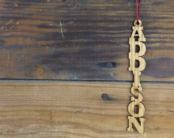 Personalized Wood Name Ornament, Name Gift Tag Ornament, Name Wall Decor, Wooden Ornament, Engraved Ornament