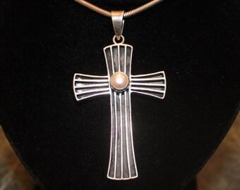 "Silver Cross with pearl ""Sheri Liebert"" sterling"