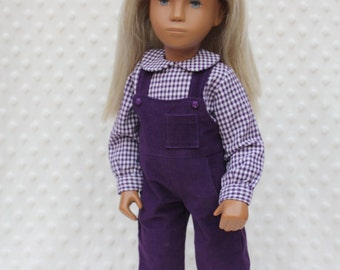 "Corduroy Dungarees and Gingham Blouse outfit for 16/17"" Sasha doll"
