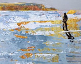 "Man on beach print - ""Golden Sunshine"" by Melanie McDonald - solitary - wild - free - beach wall art - limited edition print - gift for man"