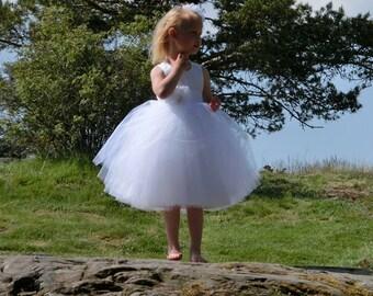 White tulle flower girl dress. Flower girl tutu dress, white flower girl dress vintage, couture flower girl dress. Toddler flower girl dress