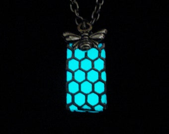 Tiny Honeycomb Necklace Pendant Honey Bee Charm Jewelry Glow In The Dark Silver (glows aqua blue)