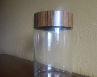 Vintage Pyrex Corning Brown Woodgrain Glass Canister -  Stack N See -  1 1/2 Quart